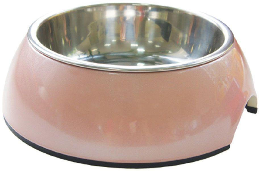 Миска для животных Super Design, на меламиновой подставке, цвет: розовый перламутр, 160 мл70141Миска Super Design для собак и кошек подходит для корма или воды. Подставка выполнена из прочного полимера, устойчивого к образованию царапин и трещин. Вынимающееся металлическое блюдце выполнено из нержавеющей стали, легко моется любыми бытовыми моющими средствами. Подходит для мытья в посудомоечной машине. Объем 160 мл.