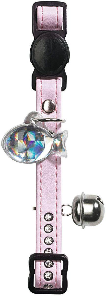 Ошейник для кошек Hunter  Smart. Modern Luxus , со стразами, искуственная кожа, цвет: светло-розовый - Товары для прогулки и дрессировки (амуниция)