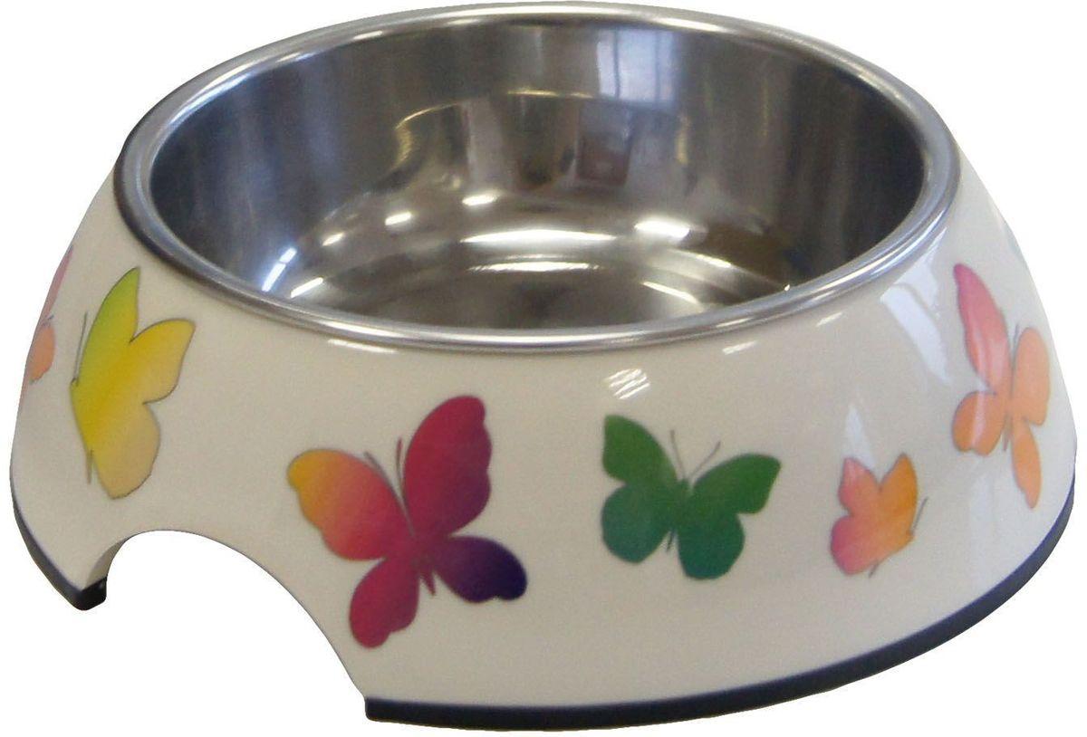 Миска Super Design Бабочки, на меламиновой подставке, 160 мл цена