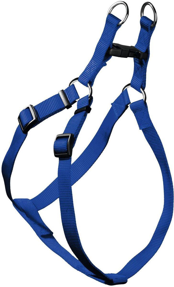 Шлейка для собак Hunter Smart Ecco Квик ХS, цвет: синий91049Шлейка для собак мелких пород Hunter Smart  ECO Quick ХS изготовлена из нейлона. В шлейке ваш четвероногий друг на прогулке будет чувствовать себя комфортно, так как ничего не будет мешать ему при движении. Шлейка снабжена хромированной фурнитурой а также пластиковым бегунком, благодаря которому можно регулировать размер шлейки и фиксировать ее в удобном положении. Шлейка снабжена одной пластиковой застежкой, что позволит очень быстро одеть ее на собаку. Обхват шеи: 26-35 см.Обхват груди: 26-35 см.Ширина ремешка шлейки: 1 см.