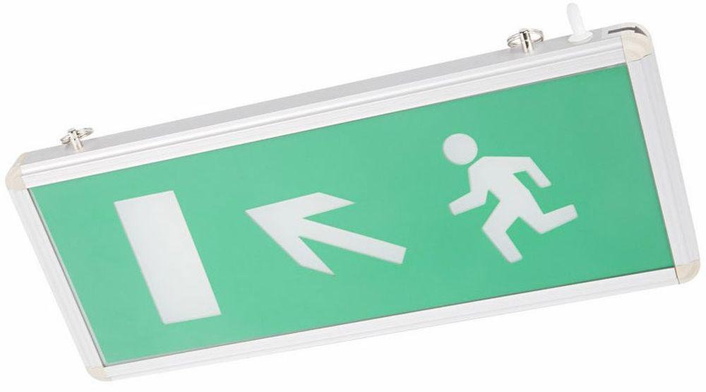 Светильник аварийный Rexant Направление к эвакуационному выходу налево вверх, светодиодный, цвет: зеленый, белый74-0110Аварийные светильники Rexant предназначены для установки во внутренних помещениях промышленных предприятий, гражданских зданий и сооружений. Обеспечивая освещение и сообщение необходимой информации (направление выхода, выхода) в случае прекращения подачи электроэнергии. Характеристики: Способ крепления: настенный, подвесной.Исполнение: односторонний.Номинальное напряжение: 180-240 В, 50/60 Гц.Количество светодиодов в светильнике: 4 шт.Мощность: 3 Вт.Размеры стекла: 329 x 118 мм.Размеры светильника: 355 x 145 x 20 мм.Степень защиты: IP30.Тип аккумуляторных батарей: никель-кадмиевые 1.2 В. Время работы от аккумулятора: 90 минут.Материал корпуса: алюминиевый сплав.Источником света в светильнике является светодиодная линейка, использование которой дает преимущество в сравнении с применяемыми в настоящее время люминесцентными лампами и лампами накаливания. Светильник имеет два варианта крепления: настенное и потолочное. Световые указатели имеют встроенный аккумулятор и сохраняют работоспособность при отсутствии напряжения в течение 90 минут.