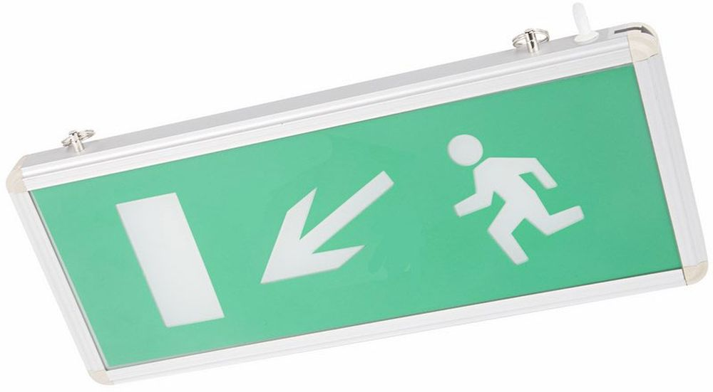 Светильник аварийный Rexant Направление к эвакуационному выходу налево вниз, светодиодный74-0120Аварийные светильники предназначены для установки во внутренних помещениях промышленных предприятий, гражданских зданий и сооружений. Обеспечивая освещение и сообщение необходимой информации (направление выхода, выхода) в случае прекращения подачи электроэнергии.Характеристики:• Способ крепления: настенный, подвесной.• Исполнение: односторонний.• Номинальное напряжение: 180-240 В, 50/60 Гц.• Количество светодиодов в светильнике: 4 шт.• Мощность: 3 Вт.• Размеры стекла: 329 x 118 мм.• Размеры светильника: 355 x 145 x 20 мм.• Степень защиты: IP30.• Тип аккумуляторных батарей: никель-кадмиевые 1.2 В. • Время работы от аккумулятора: 90 минут.• Материал корпуса: алюминиевый сплав.Источником света в светильнике является светодиодная линейка, использование которой дает преимущество в сравнении с применяемыми в настоящее время люминесцентными лампами и лампами накаливания. Светильник имеет два варианта крепления: настенное и потолочное. Световые указатели имеют встроенный аккумулятор и сохраняют работоспособность при отсутствии напряжения в течение 90 минут.