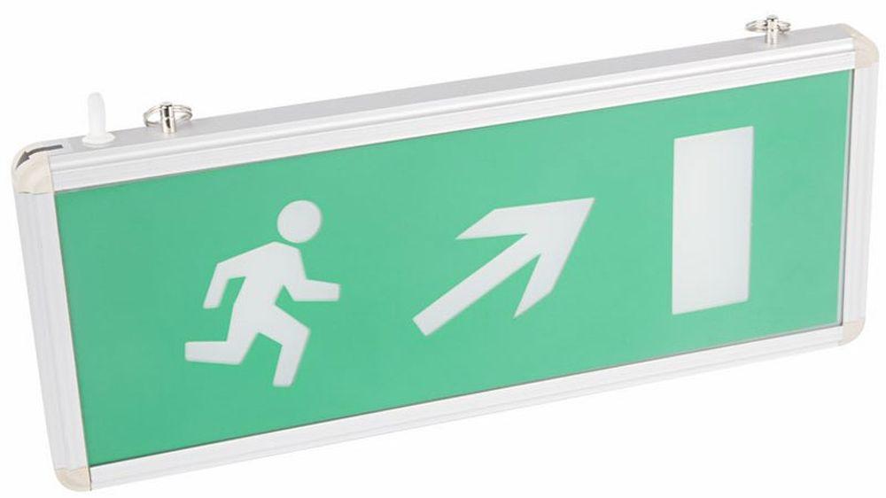 Светильник аварийный Rexant Направление к эвакуационному выходу направо вверх, светодиодный74-0140Аварийные светильники предназначены для установки во внутренних помещениях промышленных предприятий, гражданских зданий и сооружений. Обеспечивая освещение и сообщение необходимой информации (направление выхода, выхода) в случае прекращения подачи электроэнергии.Характеристики:• Способ крепления: настенный, подвесной.• Исполнение: односторонний.• Номинальное напряжение: 180-240 В, 50/60 Гц.• Количество светодиодов в светильнике: 4 шт.• Мощность: 3 Вт.• Размеры стекла: 329 x 118 мм.• Размеры светильника: 355 x 145 x 20 мм.• Степень защиты: IP30.• Тип аккумуляторных батарей: никель-кадмиевые 1.2 В. • Время работы от аккумулятора: 90 минут.• Материал корпуса: алюминиевый сплав.Источником света в светильнике является светодиодная линейка , использование которой дает преимущество в сравнении с применяемыми в настоящее время люминесцентными лампами и лампами накаливания. Светильник имеет два варианта крепления: настенное и потолочное. Световые указатели имеют встроенный аккумулятор и сохраняют работоспособность при отсутствии напряжения в течение 90 минут.