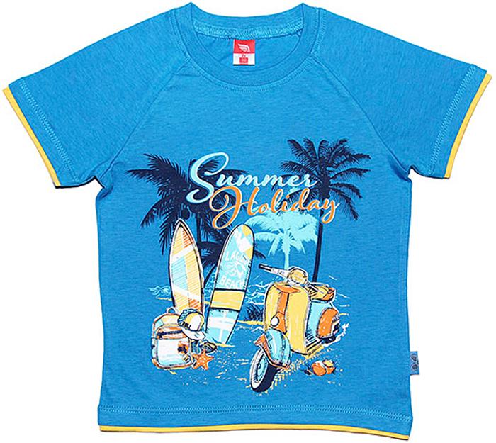 Футболка для мальчика Cherubino, цвет: синий. CSK 61306 (122). Размер 116CSK 61306 (122)Хлопковая футболка для мальчика Cherubino выполнена с рукавами реглан. Модель оформлена оригинальным принтом.