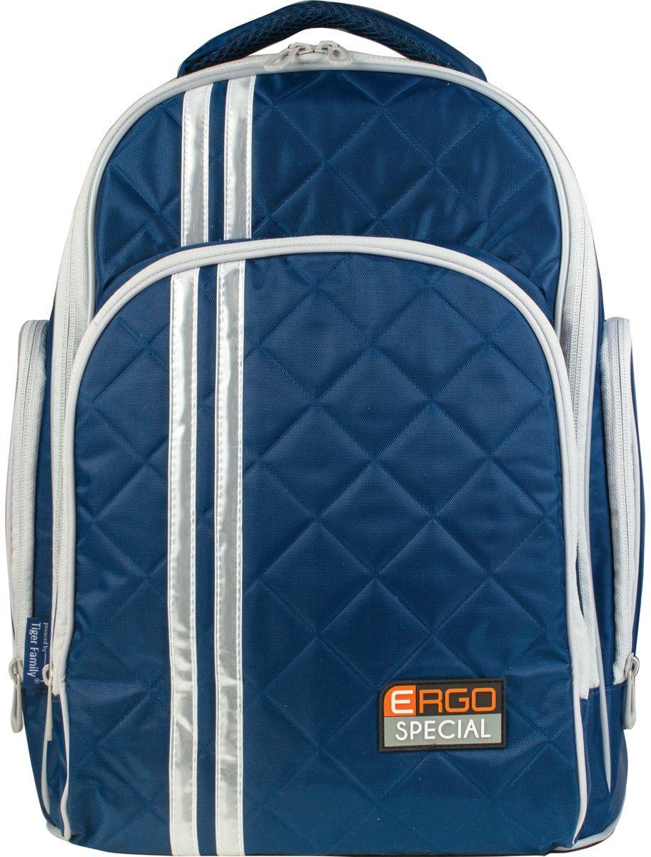 Tiger Enterprise Рюкзак Ergo Special цвет темно-синий225563Яркий, стильный и спортивный рюкзак для жизни, полной событий. Легкий и вместительный, он станет идеальным спутником во всех школьных приключениях.Светоотражающие элементы с четырех сторон делают школьника более заметным на дороге даже в темное время суток. Устойчивое дно изготовлено из немаркого прорезиненного материала и надежно защищает учебники и тетради от намокания. В боковые карманы отлично помещается бутылочка с водой. Качественный водоотталкивающий материал не позволяет грязи въедаться, поэтому рюкзак легко чистить влажной тряпочкой.Стильный и лаконичный, этот рюкзак прослужит вашему ребенку не один год.Все материалы и красители проверены на отсутствие вредных веществ и аллергенов в соответствии с европейским стандартом качества и безопасности.