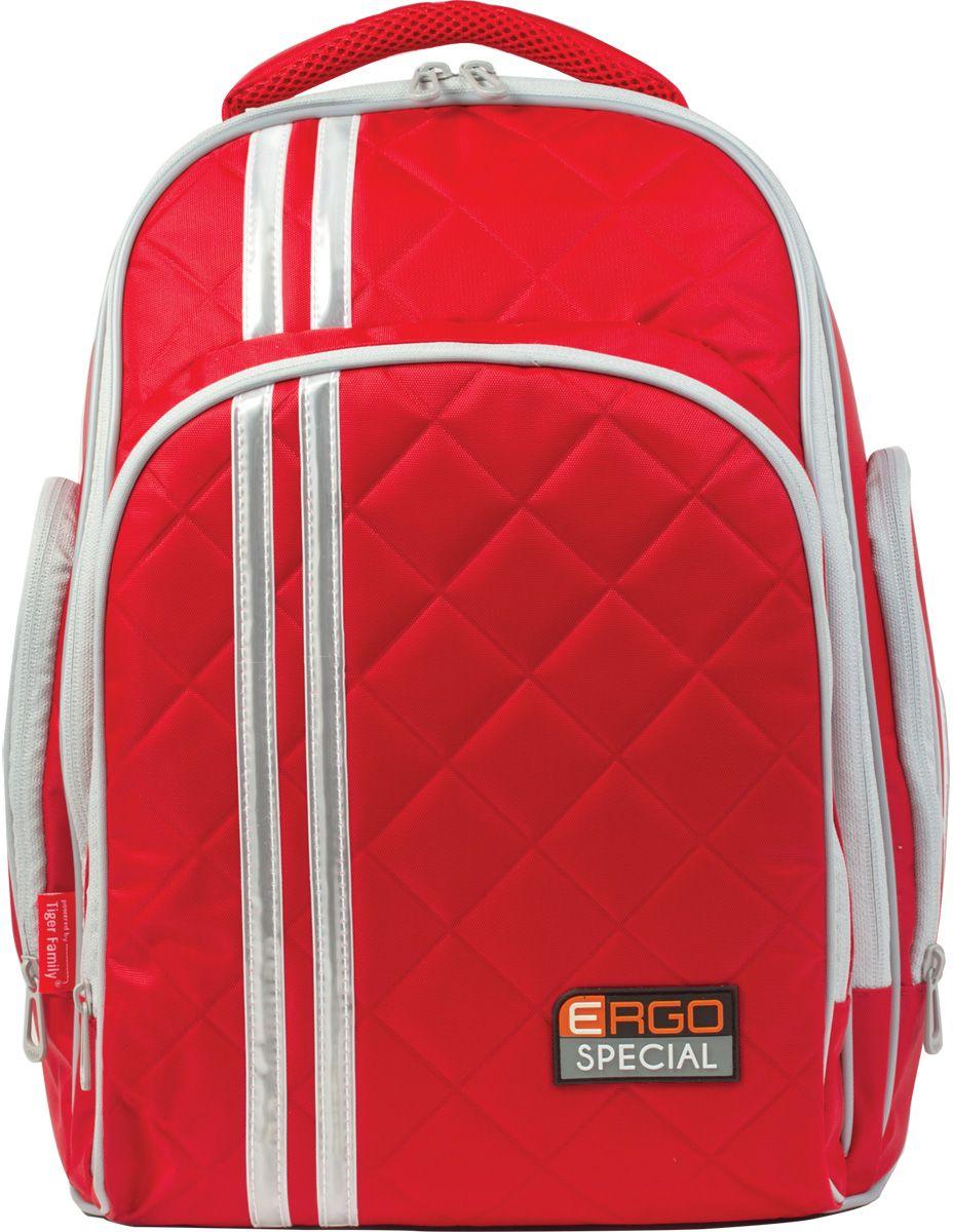 Tiger Enterprise Рюкзак Ergo Special цвет красный225564Яркий, стильный и спортивный рюкзак для жизни, полной событий. Легкий и вместительный, он станет идеальным спутником во всех школьных приключениях.Светоотражающие элементы с четырех сторон делают школьника более заметным на дороге даже в темное время суток. Устойчивое дно изготовлено из немаркого прорезиненного материала и надежно защищает учебники и тетради от намокания. В боковые карманы отлично помещается бутылочка с водой. Качественный водоотталкивающий материал не позволяет грязи въедаться, поэтому рюкзак легко чистить влажной тряпочкой.Стильный и лаконичный, этот рюкзак прослужит вашему ребенку не один год.Все материалы и красители проверены на отсутствие вредных веществ и аллергенов в соответствии с европейским стандартом качества и безопасности.