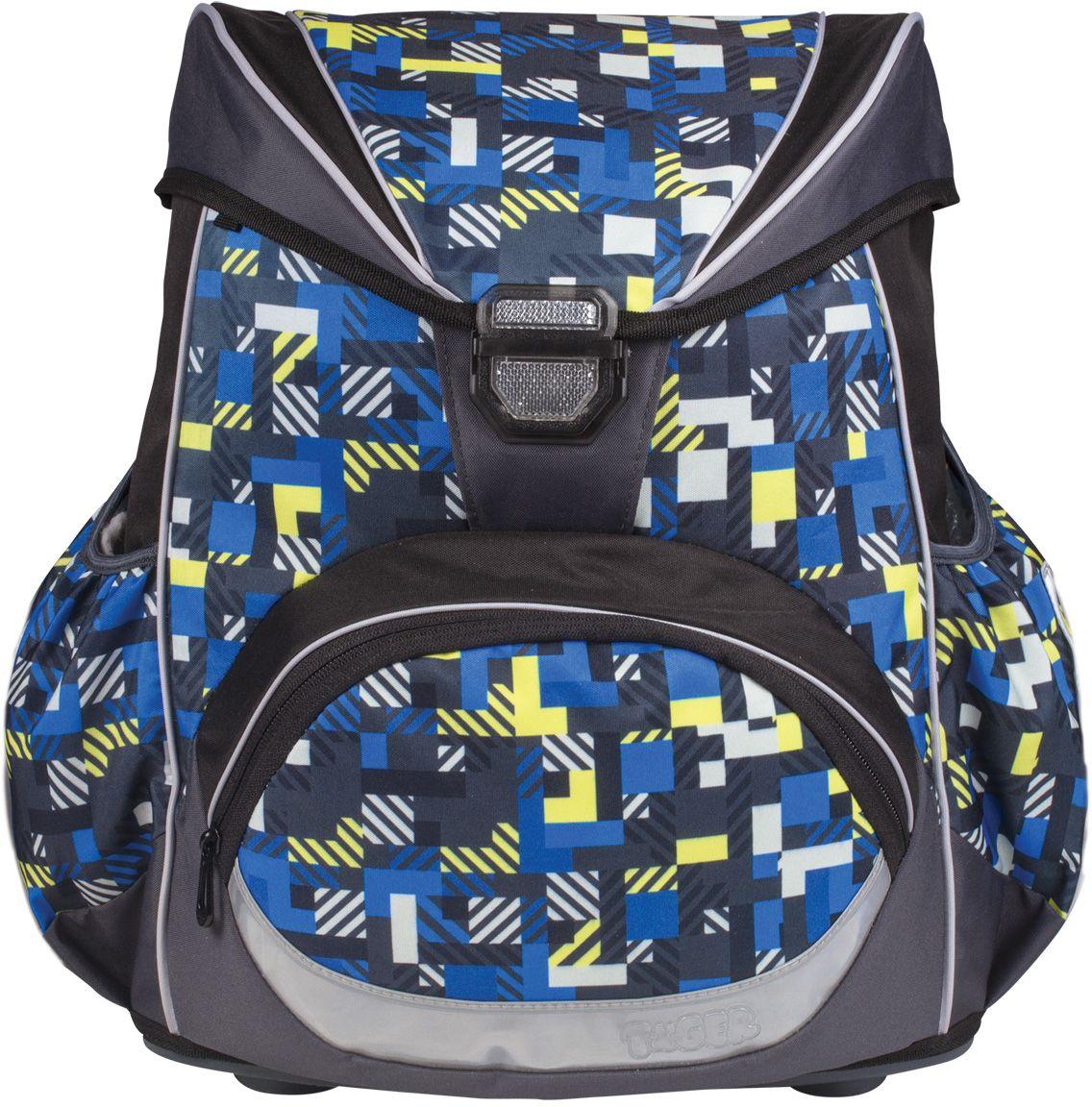 Tiger Enterprise Ранец школьный Матрица226109Удобный, как ранец, и легкий, как рюкзак! Вес этого рюкзака - всего 660 грамм, а все благодаря усовершенствованной облегченной конструкции и современным материалам. Жесткая спинка и усиленное дно обеспечивают комфортное ношение без утяжеления.Светоотражающие элементы с четырех сторон делают школьника более заметным на дороге даже в темное время суток. Устойчивое дно из облегченного пластика защищает учебники и тетради от намокания. В боковые карманы отлично помещается бутылочка с водой. Качественный водоотталкивающий материал не позволяет грязи въедаться, поэтому рюкзак легко чистить влажной тряпочкой.Все материалы и красители проверены на отсутствие вредных веществ и аллергенов в соответствии с европейским стандартом качества и безопасности.