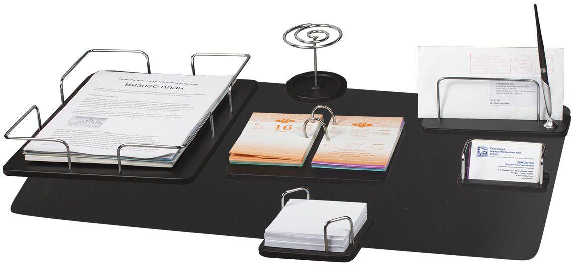 Bestar Набор письменных принадлежностей Odysseus цвет черное дерево 7 предметов236384Настольный набор письменных принадлежностей бизнес-класса Bestar Odysseus отлично подойдет для подарка руководителю или партнеру по бизнесу. Предметы набора изготовлены из дерева с металлическими деталями серебристого цвета. Цвет предметов - черное дерево. В набор входят: - лоток для бумаг;- коврик для письма;- подставка для бумажного блока;- подставка для писем и ручки (1 шариковая ручка в комплекте);- подставка для визиток;- подставка для ручек;- подставка для перекидного календаря.