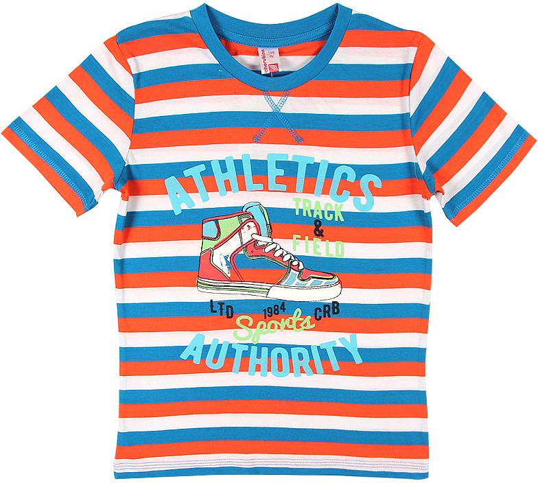 Футболка для мальчика Cherubino, цвет: оранжевый. CSJ 61626 (149). Размер 146CSJ 61626 (149)Футболка для мальчика Cherubino изготовлена из натурального хлопка. Полосатая модель выполнена с коротким рукавом.