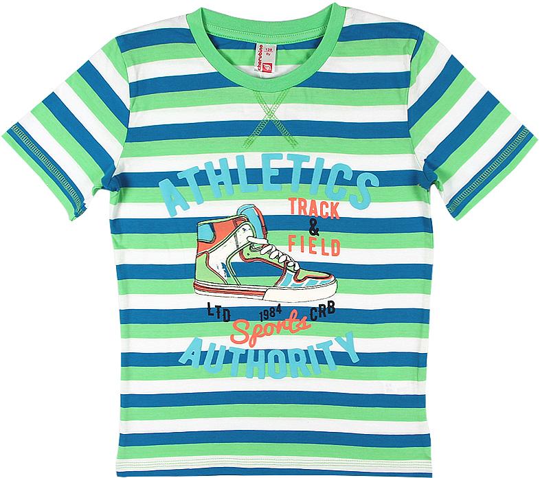 Футболка для мальчика Cherubino, цвет: зеленый. CSJ 61626 (149). Размер 134CSJ 61626 (149)Футболка для мальчика Cherubino изготовлена из натурального хлопка. Полосатая модель выполнена с коротким рукавом.