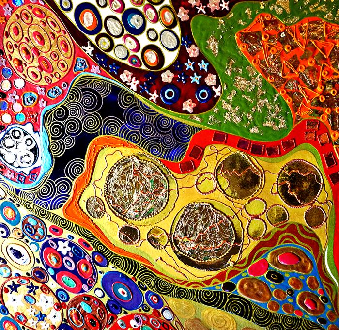 Авторская картина Водяные змеи по мотивам Густава Климта, 60 х 60 см. Художник Ирина Баст. КАВЗККАВЗКВдохновение яркими красками и разнообразием орнамента на картине Густава Климта послужило созданию картины.Климт. Водяные змеи. АбстракцияЗавуалированная красота изгибов женского тела, покачивающиеся на волнах цветы, солнечный свет, проникающий сквозь воду, завитки золотых волос русалок. Разнообразие цветов и форм.Картина создана в смешанной технике акрилом и контурами. Украшена золотой и медной поталью, что добавляет ей свечение. Трансферная поталь отдельными деталями, которая отражает свет и добавляет картине холодный металлический блеск.Картина переливается при попадании солнечного света золотым, медным цветом. Более насыщенная днем, она не теряет яркости вечером, а в ночное время мистически сияет.Материалы: холст на подрамнике, акрил, блеск, акриловый контур, золотая поталь, медная поталь, блестящие контуры