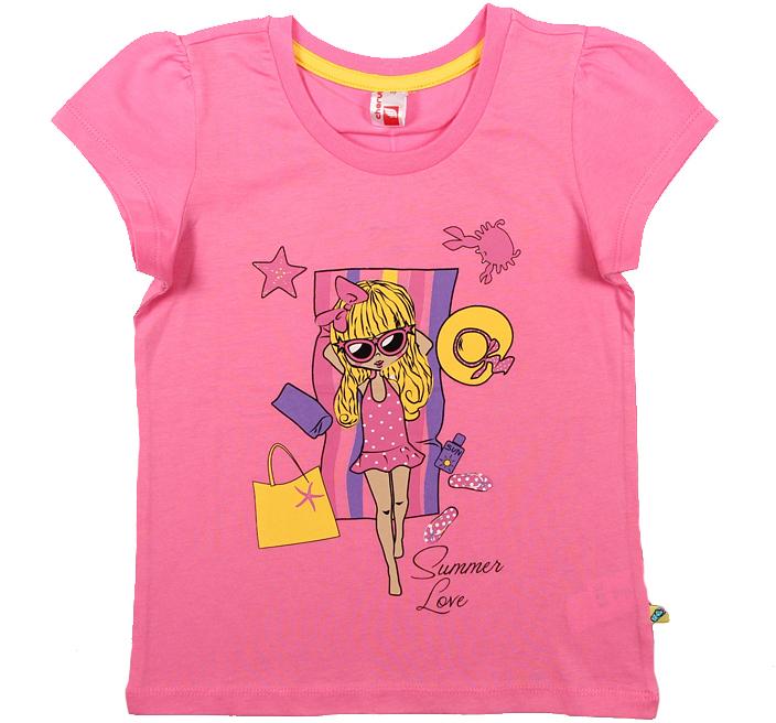 Футболка для девочки Cherubino, цвет: розовый. CSK 61570. Размер 122CSK 61570Футболка для девочки Cherubino изготовлена из натурального хлопка. Однотонная модель оформлена оригинальным принтом.