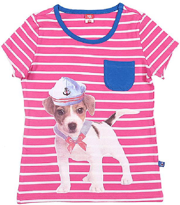 Футболка для девочки Cherubino, цвет: розовый. CSK 61047 (98). Размер 104CSK 61047 (98)Футболка для девочки Cherubino изготовлена из эластичного хлопка. Модель в полоску декорирована принтом собачка и карманом контрастного цвета.