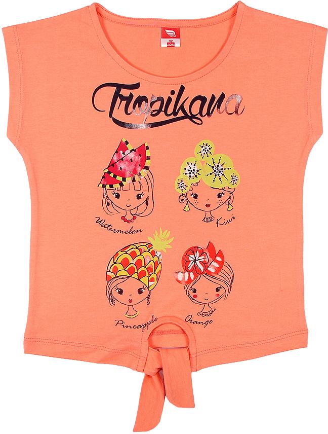 Футболка для девочки Cherubino, цвет: коралловый. CSK 61567 (146). Размер 110CSK 61567 (146)Футболка для девочки Cherubino изготовлена из натурального хлопка. Однотонная модель оформлена спереди декоративным узлом и принтом.