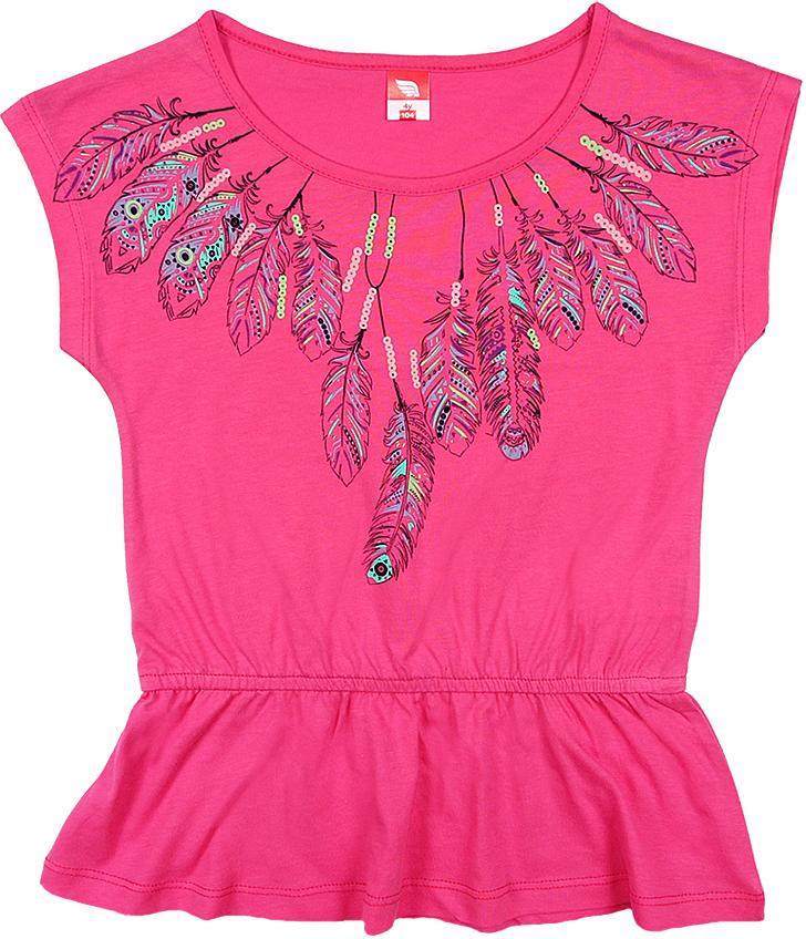 Туника для девочки Cherubino, цвет: розовый. CSK 61625 (154). Размер 104CSK 61625 (154)Туника для девочки Cherubino изготовлена из натурального хлопка.Однотонная модель оформлена оригинальным принтом.