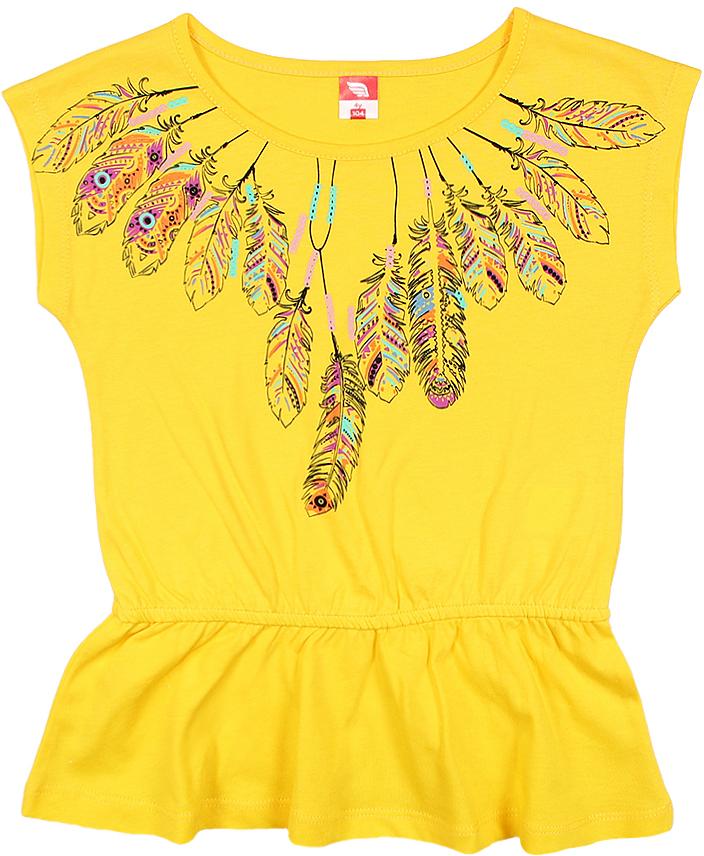 Туника для девочки Cherubino, цвет: желтый. CSK 61625 (154). Размер 104CSK 61625 (154)Туника для девочки Cherubino изготовлена из натурального хлопка.Однотонная модель оформлена оригинальным принтом.