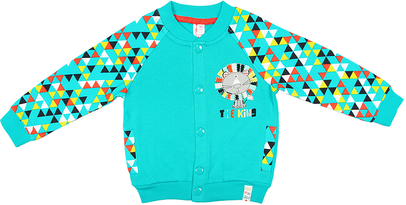 Свитшот для мальчика Cherubino, цвет: зеленый. CWB 61446 (135). Размер 92CWB 61446 (135)Свитшот для мальчика Cherubino изготовлен из натурального хлопка. Модель с начесом застегивается на кнопки и декорирована принтом.