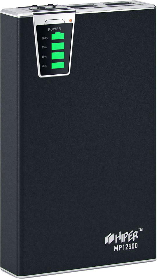 HIPER MP12500, Black внешний аккумулятор (12500 мАч)MP12500Внешний аккумулятор Hiper Power Bank серии MP выполнен в класическом дизайне и отличается богатым набором адаптеров под различные типы заряжаемых устройств. Максимальный выходной ток - 2,1А, устройство снабжено двумя USB-выходами и индикатором уровня заряда. Высококачественный литий-ионный аккумулятор обладает встроенной защитой: от избыточного заряда и полного разряда, от перенапряжения и перегрузки по силе тока, от короткого замыкания — все это обеспечивает максимальную безопасность использования и подтверждает заслуженную репутацию надёжного производителя аналогичных устройств.