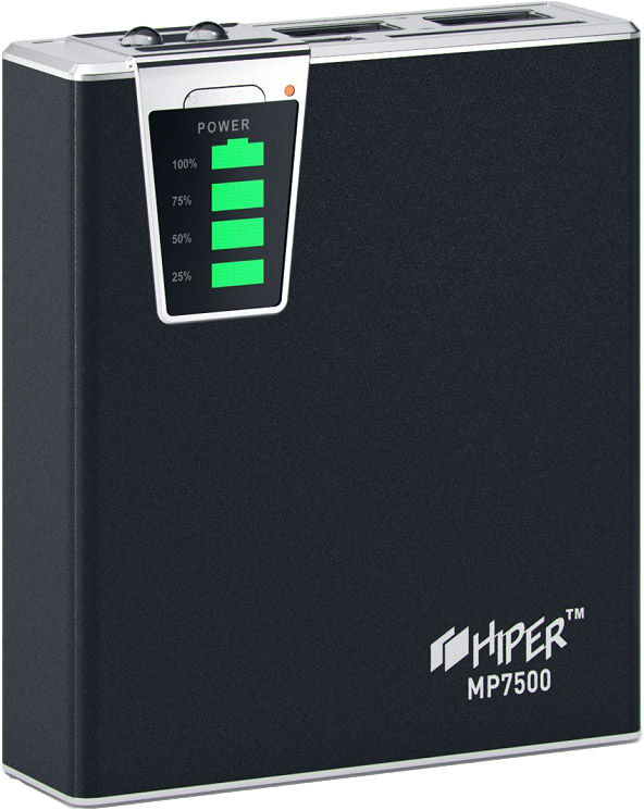 Hiper MP7500, Black внешний аккумулятор (7500 мАч)MP7500Внешний аккумулятор Hiper Power Bank серии MP выполнен в классическом дизайне и отличается богатым набором адаптеров под различные типы заряжаемых устройств. Максимальный выходной ток - 2,1А, устройство снабжено двумя USB-выходами и индикатором уровня заряда.Высококачественный литий-ионный аккумулятор обладает встроенной защитой: от избыточного заряда и полного разряда, от перенапряжения и перегрузки по силе тока, от короткого замыкания - все это обеспечивает максимальную безопасность использования и подтверждает заслуженную репутацию надежного производителя аналогичных устройств.