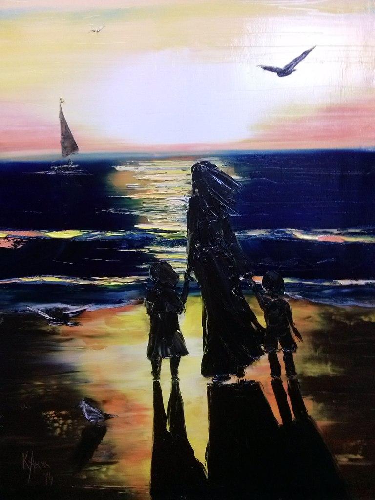 Картина авторская Море, 50 х 70 см, холст, масло. Художник AngeluKYК017Картина Море размер 50х70, холст на подрамнике, масло. AngeluKYХудожница Анжела Станиславовна Кузнецова, более известная под псевдонимом AngelucKY, являясь петербурженкой от рождения (1981 год), продолжает жить и работать в прекрасном городе на Неве. с 2010 года начала серьезно увлекаться живописью.Художница пробует себя в разных художественных стилях и техниках. На сегодня основным интересом AngelucKY является масляная холстовая живопись, а преобладающие тематики – пленэрный пейзаж, жанровые сюжеты, цветочные натюрморты и анималистика. Отдельное место в творчестве Кузнецовой Анжелы занимает анималистика, а именно запатентованная серия Совы, отзылающая зрителя к лучшим традициям иллюстрированого жанра.