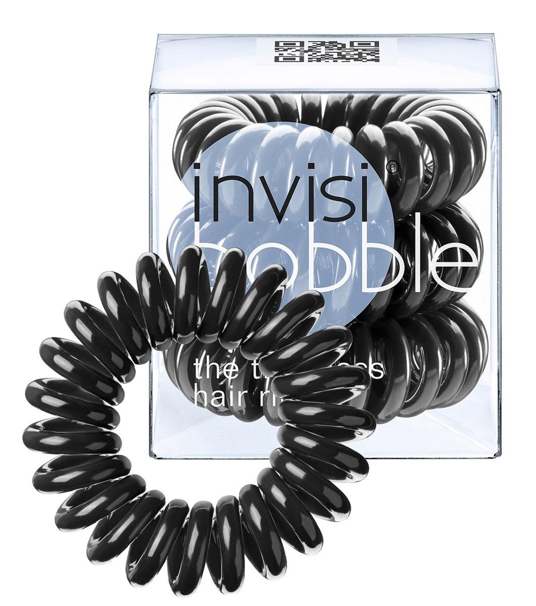 Invisibobble Резинка-браслет для волос True Black, 3 шт3001Оригинальные резинки-браслеты Invisibobble в форме телефонного шнура, созданные в Германии.Резинки-браслеты Invisibobble подходят для всех типов волос, надежно фиксируют прическу, не оставляют заломов и не вызывают головную боль благодаря неравномерному распределению давления на волосы. Кроме того, они не намокают и не вызывают аллергию при контакте с кожей, поскольку изготовлены из искусственной смолы. Резинка-браслет Invisibobble черного цвета.C резинками Invisibobble можно легко создавать разнообразные прически. Резинки прочно держат волосы любой длины, при этом, не стягивая их слишком туго. Телефонный провод позволяет с легкостью и без вреда для волос протягивать пряди под спираль и ослаблять уже закрепленные для придания объема прическе. Invisibobble Original идеально подходят для ежедневного применения.Не комедогенна.