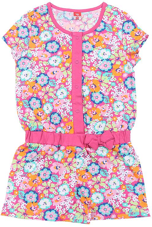 Полукомбинезон для девочки Cherubino, цвет: розовый. CSK 9481. Размер 104CSK 9481Полукомбинезон с шортами для девочки Cherubino изготовлен из натурального хлопка. модель из набивного трикотажа в цветочек декорирована бантиком.
