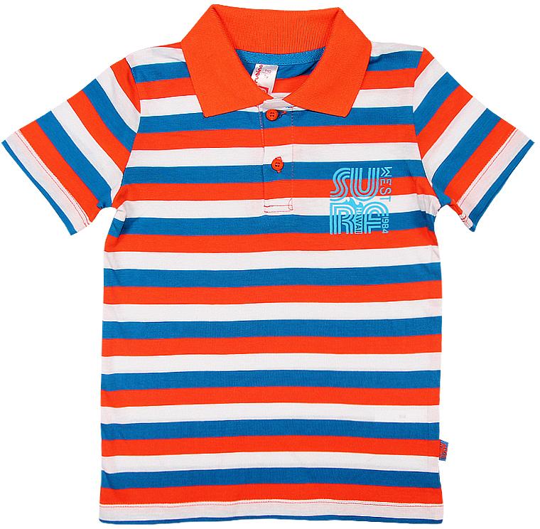 Поло для мальчика Cherubino, цвет: оранжевый. CSK 61576 (147). Размер 104CSK 61576 (147)Поло для мальчика Cherubino изготовлено из натурального хлопка. Полосатая модель оформлена отложным воротничком и застежкой с пуговицами.