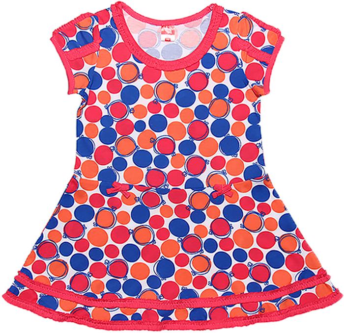 Платье для девочки Cherubino, цвет: розовый. CSK 61390 (125). Размер 110CSK 61390 (125)Трикотажное платье для девочки Cherubino изготовлено из натурального хлопка. Яркая модель из набивного полотна украшена мелкими рюшами.
