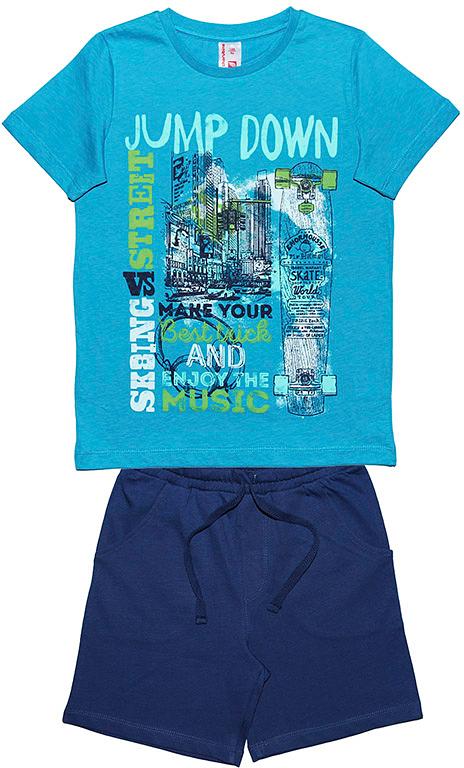 Комплект одежды для мальчика Cherubino: футболка, шорты, цвет: синий. CSJ 9582. Размер 134CSJ 9582Комплект одежды для мальчика Cherubino изготовлен из натурального хлопка. Комплект состоит из футболки с принтом и однотонных шорт.