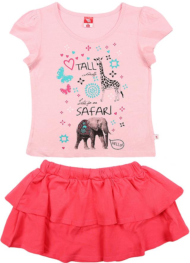 Комплект одежды для девочки Cherubino: футболка, юбка, цвет: розовый. CSK 9653 (154). Размер 104CSK 9653 (154)Комплект для девочки Cherubino изготовлен из натурального хлопка. Комплект состоит из однотонной футболки с принтом и юбки с воланами на широком поясе с резинкой.