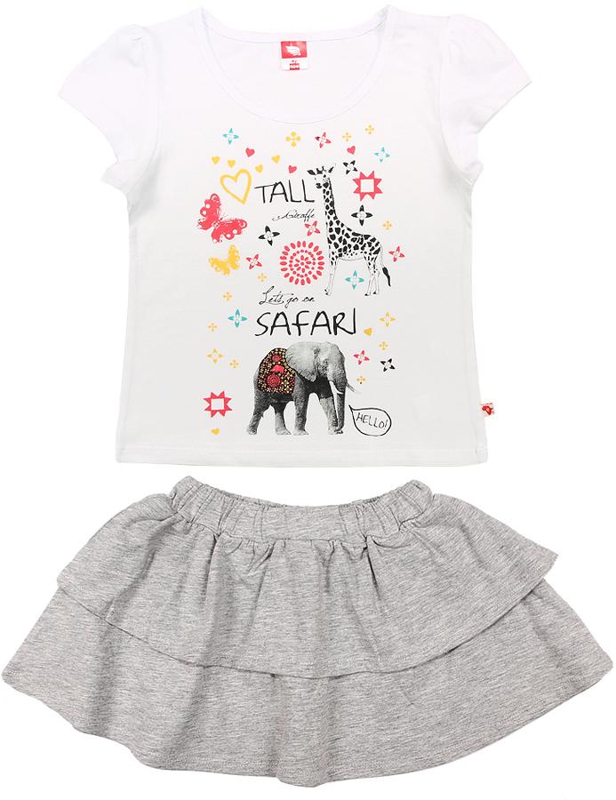 Комплект одежды для девочки Cherubino: футболка, юбка, цвет: белый. CSK 9653 (154). Размер 116CSK 9653 (154)Комплект для девочки Cherubino изготовлен из натурального хлопка. Комплект состоит из однотонной футболки с принтом и юбки с воланами на широком поясе с резинкой.