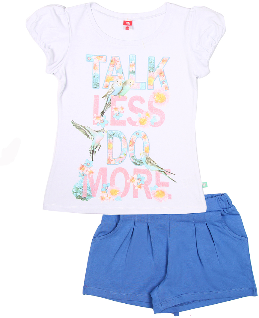 Комплект одежды для девочки Cherubino: футболка, шорты, цвет: белый. CSJ 9576 (123). Размер 140CSJ 9576 (123)Комплект для девочки Cherubino изготовлен из хлопка с эластаном. Комплект состоит из однотонной футболки с принтом и ярких трикотажных шорт.
