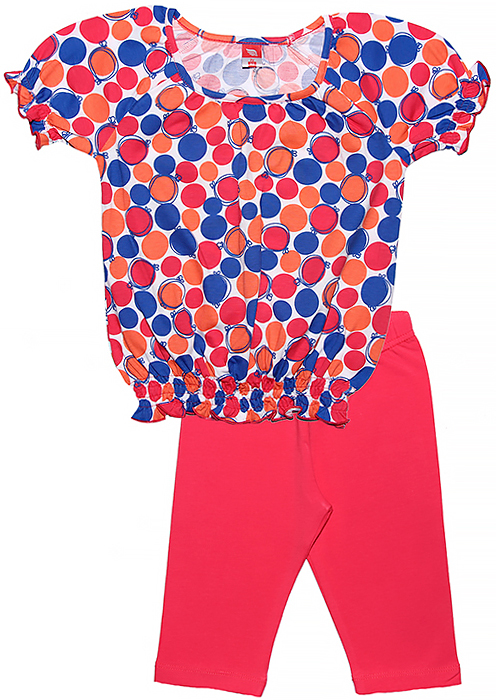 Комплект одежды для девочки Cherubino: футболка, бриджи, цвет: розовый. CSK 9588 (125). Размер 104CSK 9588 (125)Летний комплект для девочки Cherubino выполнен из хлопка с добавлением эластана. Комплект состоит из набивной футболки, у которой низ и рукава собраны на тонкие резиночки и ярких бридж.