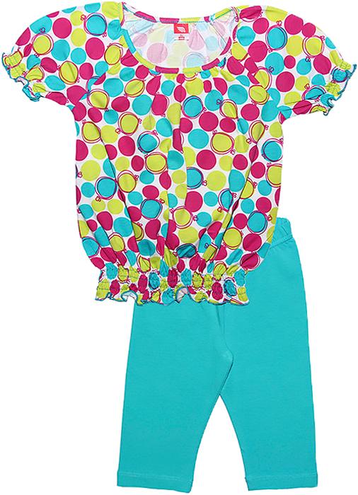 Комплект одежды для девочки Cherubino: футболка, бриджи, цвет: бирюзовый. CSK 9588 (125). Размер 98CSK 9588 (125)Летний комплект для девочки Cherubino выполнен из хлопка с добавлением эластана. Комплект состоит из набивной футболки, у которой низ и рукава собраны на тонкие резиночки и ярких бридж.
