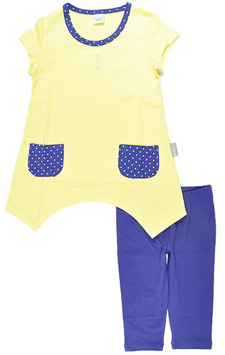 Комплект одежды для девочки Cherubino: туника, бриджи, цвет: желтый. CSK 9206 (07). Размер 110