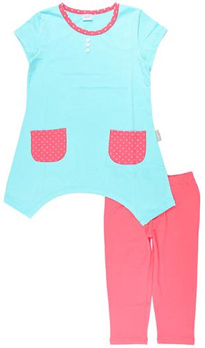 Комплект одежды для девочки Cherubino: туника, бриджи, цвет: бирюзовый. CSK 9206 (07). Размер 110