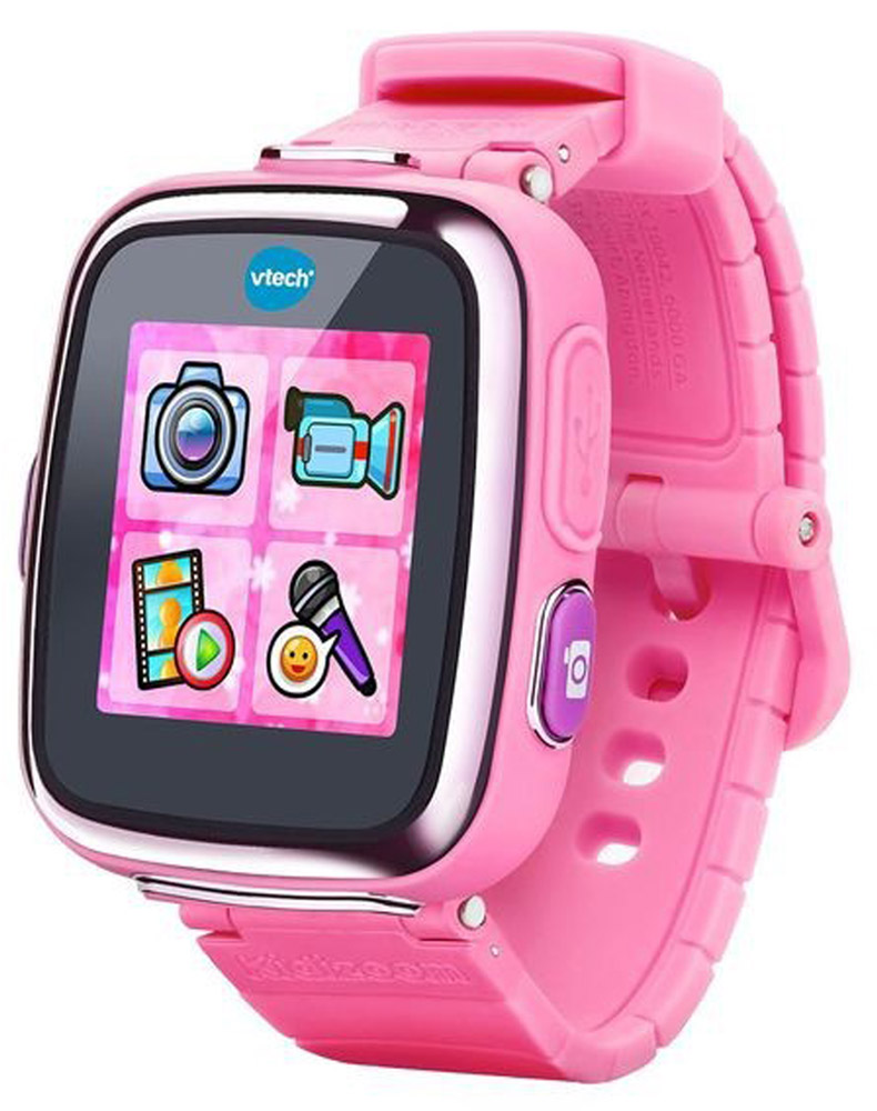Vtech Детские наручные часы Kidizoom SmartWatch DX цвет розовый80-171610Цифровые часы Vyech Kidizoom Smartwatch DX - уникальный наручный гаджет для детей! Это умнейшее цифровое устройство не только может показывать время, но и фотографировать, снимать видеоролики, записывать голос, обрабатывать изображения и даже играть с ребенком в интересные игры! Умные часы Kidizoom Smartwatch имеют сенсорный экран диагональю 1,44 дюйма. В интерфейсе гаджета ребенок найдет более 50 различных вариантов заставок и циферблатов, как в цифровом, так и в аналоговом вариантах. Функция будильника научит малыша контролировать время и просыпаться вовремя. При установке будильника ребенок сможет выбрать любой из 10 вариантов звонков и анимированных заставок.С мощным встроенным аккумулятором часы будут работать без подзарядки до 2 недель, а прочный прорезиненный корпус защитит часы от попадания влаги. Камера 0,3 Мпикс позволяет делать фото и видеоролики прямо с часов! Применив необычные фильтры и эффекты к фото и видеороликам, можно перенести изображения на компьютер при помощи usb-кабеля, который входит в комплект. Шагомер, калькулятор, таймер, диктофон, календарь и увлекательные игры делают этот уникальный гаджет не только полезным, но и интересным.Особенности часов:Цифровая камера: 0.3 Мп (ребенок может делать фото прямо часами)Цветной сенсорный дисплей 1.44 дюйма,256 МБ встроенной памяти (на 800 фото),Трехмерный циферблат,Запись видеороликов, диктофон, слайд-шоу,5 игр (в том числе с датчиком движений) + 3 веселых приложения-игры,Будильник, секундомер, таймер,Калькулятор, шагомер, спортивный вызов (3 приложения),Возможность подключения к ПК (micro USB-кабель в комплекте),Возможность применять забавные эффекты к фотографиям, видеороликам и аудиозаписям,Закачка новых игр, приложений и спецэффектов через сервис VTech Learning Lodge,Li-ion аккумулятор (встроенный),Ударопрочный, прорезиненный корпус.Длина ремешка 22 см. Размер дисплея 5х5 см. Продается в стильной коробке и идеально подходит в 