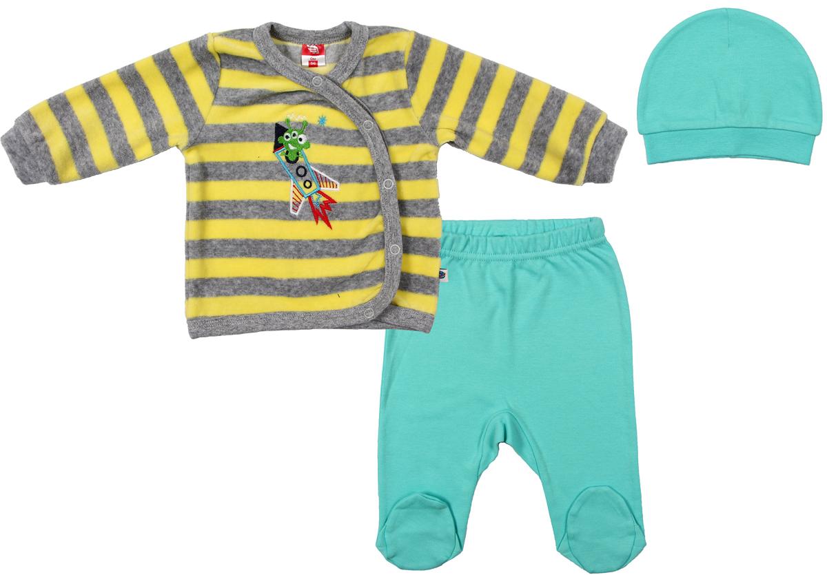 Комплект для мальчика Cherubino: кофточка, ползунки, шапочка, цвет: желтый. CWN 9531 (131). Размер 74CWN 9531 (131)Комплект для мальчика Cherubino изготовлен из мягкого велюра. Комплект состоит из полосатого джемпера на кнопках, однотонных ползунков на резиночке и шапочки.