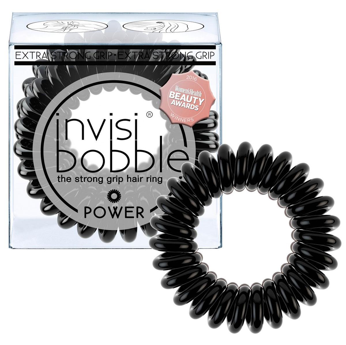 Invisibobble Резинка-браслет для волос Power True Black, 3 шт3052Оттенок invisibobble true black из коллекции POWER для всех, кто придерживается классического стиля! Коллекция invisibobble POWER создана для всех, кто ведет активный образ жизни! Резинки-браслеты invisibobble POWER немного больше в размере, чем invisibobble ORIGINAL, а также имеют более плотные витки. Это позволяет плотно фиксировать волосы во время занятий спортом и активного отдыха. invisibobble POWER также идеальны для густых волос. Резинки-браслеты invisibobble подходят для всех типов волос, надежно фиксируют причёску, не оставляют заломов и не вызывают головную боль благодаря неравномерному распределению давления на волосы. Кроме того, они не намокают и не вызывают аллергию при контакте с кожей, поскольку изготовлены из искусственной смолы. C резинками invisibobble можно легко создавать разные прически. Резинки прочно держат волосы любой длины, при этом не стягивая их слишком туго. «Телефонный провод» позволяет с легкостью и без вреда для волос протягивать пряди под спираль и ослаблять уже закрепленные для придания объема прическе. Увеличенный размер и более плотные витки invisibobble POWER позволяют прочно закрепить причёску во время занятий спортом, а также идеально подходят для объёмных и густых волос.Не комедогенна.