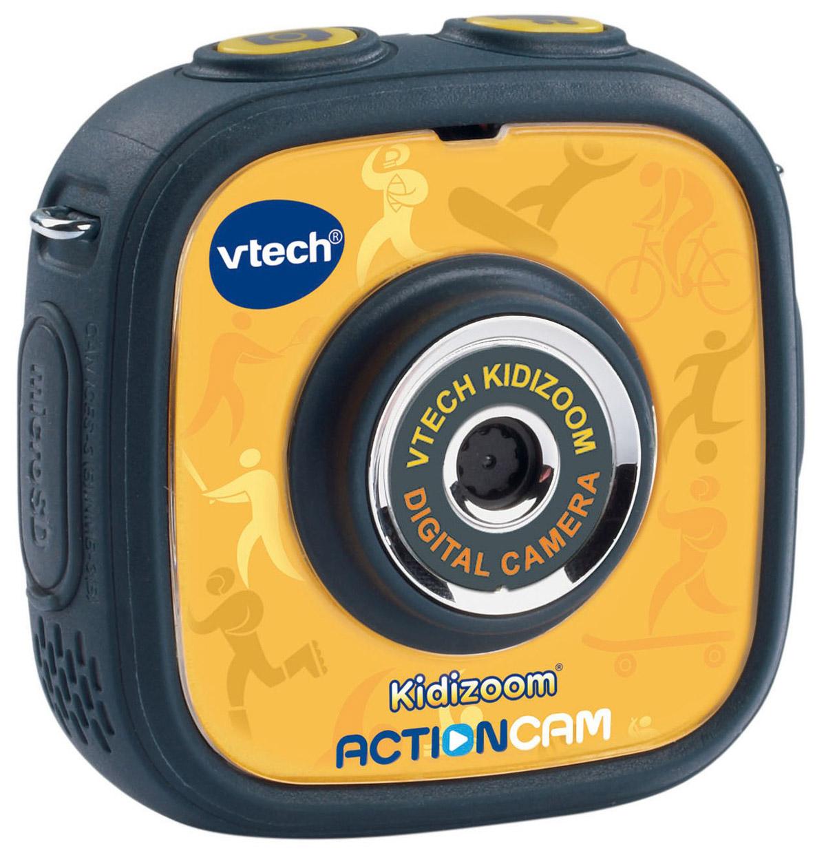 Vtech Детская экшн-камера Kidizoom Action Cam80-170700Vtech Kidizoom Action Cam - многофункциональная и простая экшн-камера, разработанная специально для детей! С ней дети смогут снимать динамические видео, делать фото, накладывать анимацию и различные эффекты, играть в игры и даже снимать под водой! Камера с разрешением 0,3 Мпикс позволяет снимать красочные фото и видео. Благодаря специальному держателю камеру можно закрепить на велосипеде или скейте и снимать свои приключения. Водонепроницаемые прочный корпус позволяет делать съемки под водой на глубине до 1,5 метров. Применив необычные фильтры и эффекты к фото и видеороликам, можно перенести изображения на компьютер при помощи usb-кабеля, который входит в комплект. Помимо возможности фото и видеосъемки в Kidizoom Action Cam есть также 3 увлекательные встроенные игры, которые не дадут малышу скучать в перерывах между съемками. Особенности камеры:Прочная, водонепроницаемая камера,Разрешение: 0.3 Мп,Крепления для велосипеда и скейта,Водонепроницаемый чехол для съемки под водой,128 МБ встроенной памяти (на 600 фото) + слот для micro SD/SDHC карт до 32 ГБ,Запись видео до 2,5 часов без подзарядки,3 игры,Покадровая анимация,Возможность подключения к ПК (кабель входит в комплект),Цветной дисплей (1.41 дюйма),Возможность применять забавные эффекты к фотографиям и видеороликам,Встроенный Li-ion аккумулятор,Шнурок-петля.Продается в стильной коробке и идеально подходит в качестве подарка. Компания Vtech - лидирующий поставщик электронных обучающих игрушек для детей. Цифровые игрушки и товары для детей Витек позволяют детям развивать свои творческие навыки, креативность, способность изучать окружающий мир, учиться читать и считать.Как выбрать экшн-камеру. Статья OZON Гид