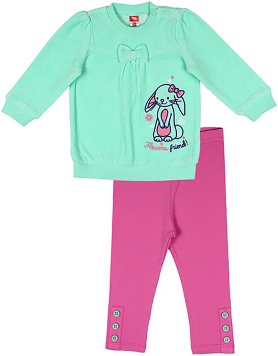 Комплект для девочки Cherubino: туника, лосины, цвет: бирюзовый. CWB 9524. Размер 86