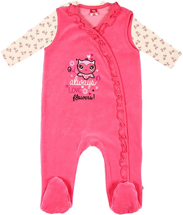 Комплект для девочки Cherubino: рубашечка, ползунки, цвет: розовый. CWN 9520 (128). Размер 62CWN 9520 (128)Комплект ясельный для девочки Cherubino послужит идеальным дополнением к гардеробу вашей крохи, состоит из набивного джемпера и высоких ползунков. Комплект очень мягкий и легкий, не раздражает нежную кожу ребенка и хорошо вентилируется.