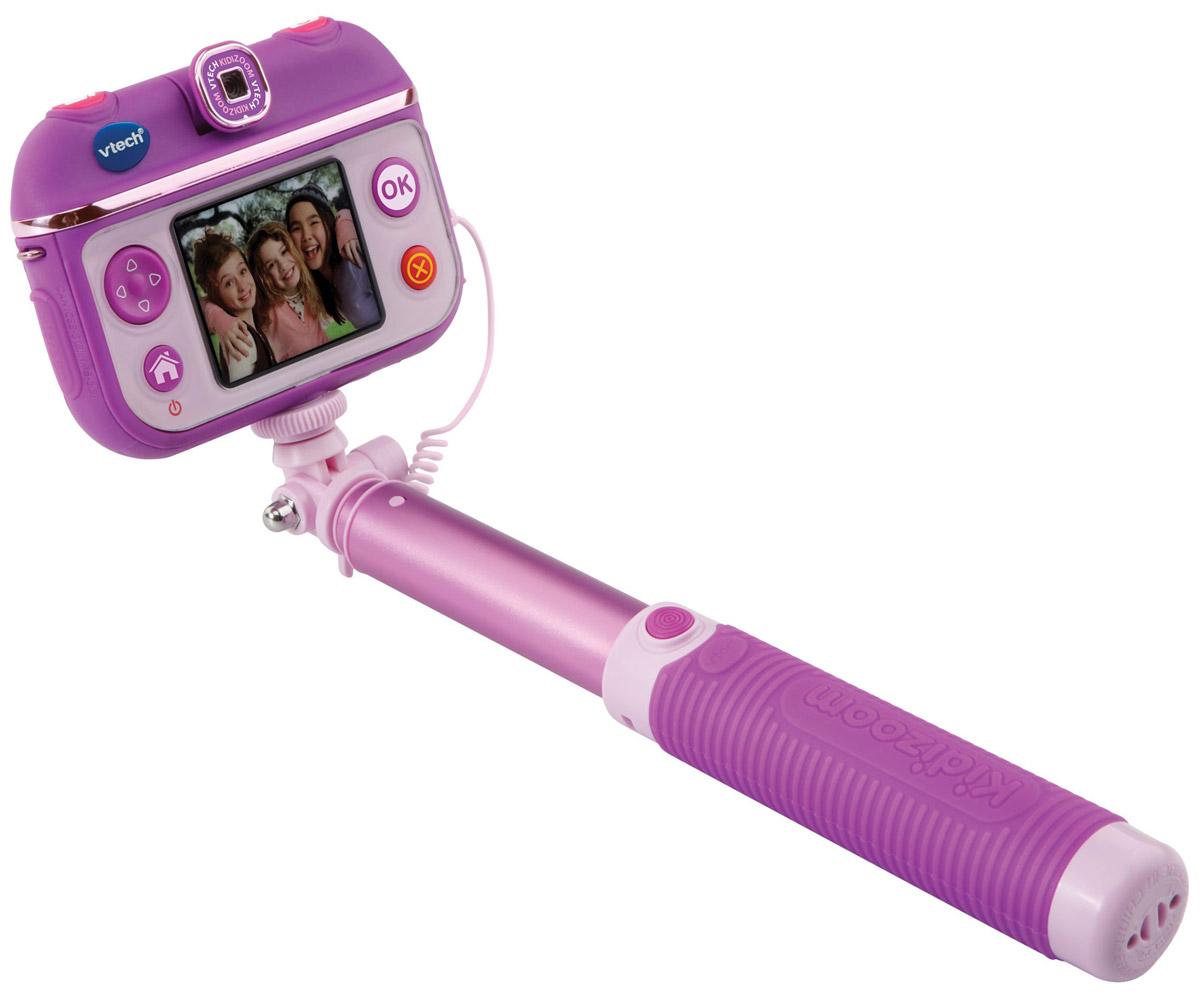 Vtech Детская селфи-камера Kidizoom Selfie Cam80-193703Селфи-камера Vtech Kidizoom SelfieCam - многофункциональная и простая камера, разработанная специально для детей! С новой уникальной селфи-камерой дети смогут снимать фото и видео, обрабатывать их с помощью приложений и делиться своими снимками с друзьями. Камера с разрешением 0,3 Мп позволяет снимать красочные фото и видео. В комплекте с камерой есть также удобная селфи-палка с возможностью поворота объектива на 180 градусов. Встроенная память позволяет хранить до 600 фото и снимать 10 часов без подзарядки. Встроенное приложение Студия красоты с функциями Макияж и Парикмахерская сделает фото девочек стильными и необычными. Ну а 3 встроенных увлекательных игры не дадут ребенку скучать между съемками. Особенности камеры:Раздвижная селфи-палка (в комплекте),Поворотный объектив (на 180 градусов),Разрешение: 0.3 Мп,128 МБ встроенной памяти (на 600 фото) + слот для microSD/SDHC карт до 32 ГБ,Запись видео до 2.5 часов без подзарядки, в обычном режиме - 10 часов без подзарядки,Приложение Студия красоты (две функции: Парикмахерская и Макияж),3 игры,Музыкальное слайд-шоу,Возможность подключения к ПК (кабель Micro-USB входит в комплект),Цветной дисплей (1.41 дюйма),Возможность применять забавные эффекты к фотографиям и видеороликам,Встроенный Li-ion аккумулятор.Продается в стильной коробке и идеально подходит в качестве подарка.Компания Vtech - лидирующий поставщик электронных обучающих игрушек для детей. Цифровые игрушки и товары для детей Vtech позволяют детям развивать свои творческие навыки, креативность, способность изучать окружающий мир, учиться читать и считать.