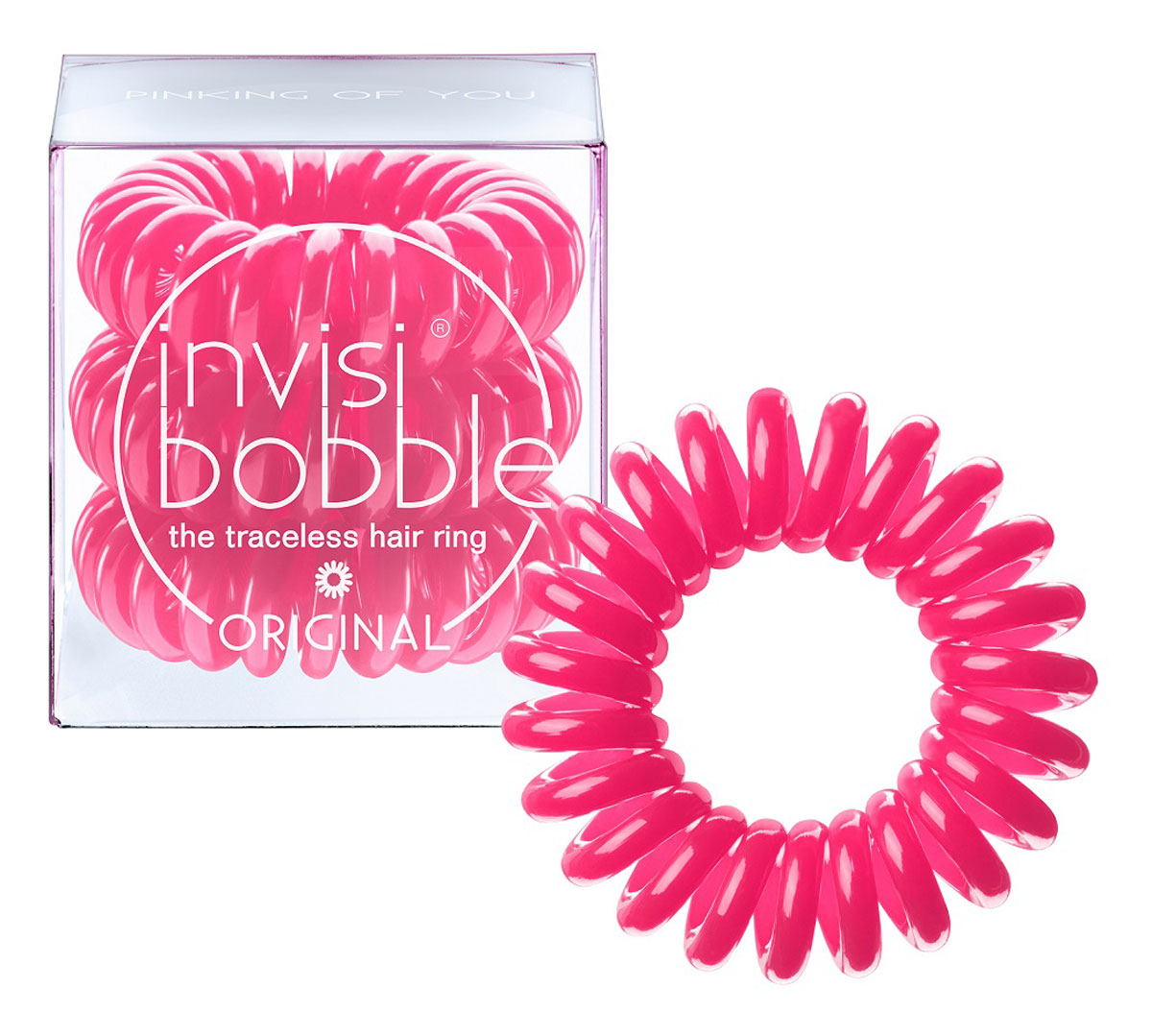 Invisibobble Резинка-браслет для волос Original Pinking of You, 3 шт3045Резиночка invisibobble pinking of you в розовом цвете из коллекции ORIGINAL приносит счастье и радость, а заодно привлекает к себе всеобщее внимание. В коллекцию ORIGINAL вошли наиболее популярные цвета резинок-браслетов, а также новые цвета для создания безупречного образа на каждый день. Резинки-браслеты invisibobble подходят для всех типов волос, надежно фиксируют прическу, не оставляют заломов и не вызывают головную боль благодаря неравномерному распределению давления на волосы. Кроме того, они не намокают и не вызывают аллергию при контакте с кожей, поскольку изготовлены из искусственной смолы.C резинками Invisibobble можно легко создавать разнообразные прически. Резинки прочно держат волосы любой длины, при этом, не стягивая их слишком туго. Телефонный провод позволяет с легкостью и без вреда для волос протягивать пряди под спираль и ослаблять уже закрепленные для придания объема прическе. Invisibobble Original идеально подходят для ежедневного применения.Не комедогенна.