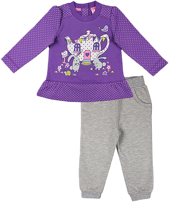 Комплект для девочки Cherubino: джемпер, брюки, цвет: сиреневый. CWB 9606 (133). Размер 86 джемпер для мальчика cherubino цвет синий cwb 61491 размер 86