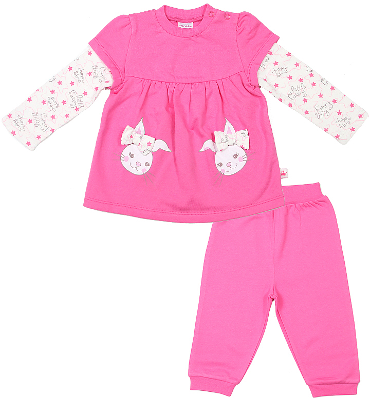 Комплект для девочки Cherubino: джемпер, брюки, цвет: розовый. CWN 9423. Размер 62CWN 9423Комплект для девочки Cherubino состоит из джемпера свободного кроя и брючек. Брючки на талии дополнены эластичной резинкой.
