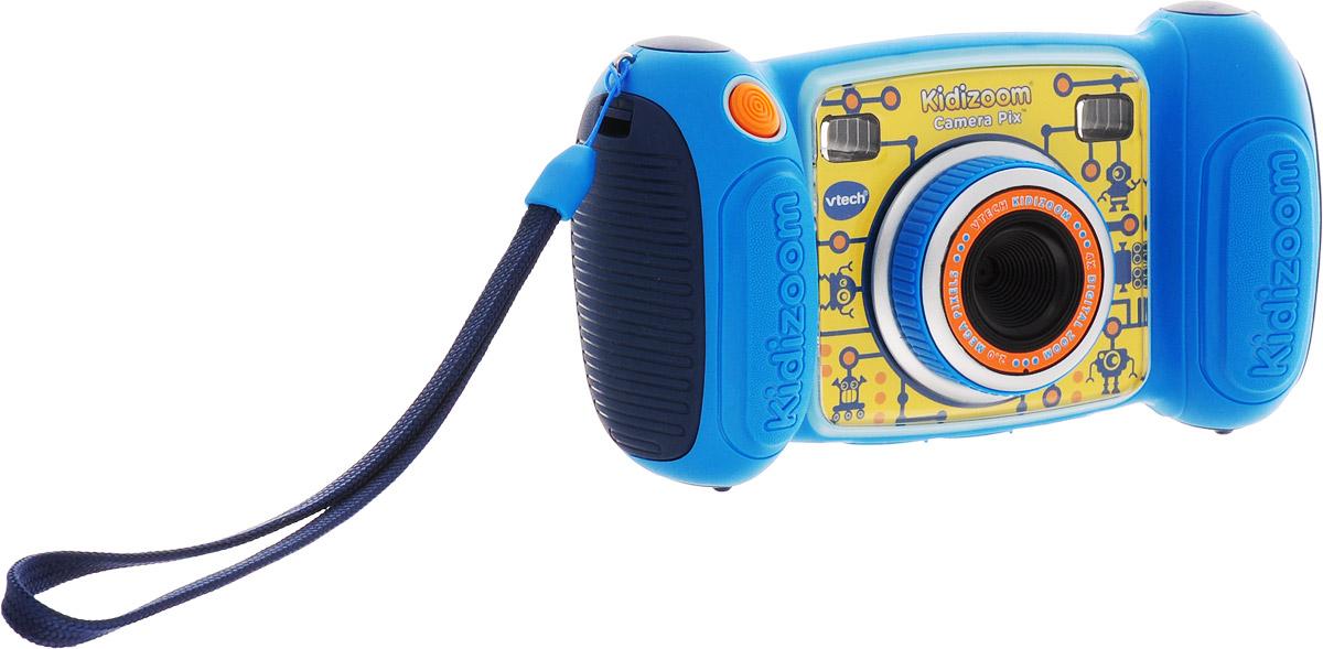 Vtech Детская цифровая фотокамера Kidizoom Camera Pix цвет синий80-193600Цифровая камера Kidizoom Camera Pix от производителя Vtech - это очень прочная и простая в использовании цифровая камера, созданная специально для детей! Камера позволяет снимает фото и видео с забавными эффектами, снимает в специальном режиме селфи.Kidizoom оснащен различными творческими инструментами, которые позволят украсить фотографии с помощью интересных рамок, штампов и других интересных эффектов. С Kidizoom можно создавать собственную анимацию! В дополнение к этому, с помощью Kidizoom Camera Pixможно записывать голос с 5 эффектами изменения голоса или играть в любую из встроенных 4 игр.Особенности камеры:Разрешение: 1.3 Мп,Зум: 4-х кратный,128 МБ встроенной памяти (на 1000 фото) + слот для microSD/SDHC карт,Запись видеороликов,4 игры,Диктофон,Возможность подключения к ПК (USB кабель входит в комплект),Двойной видоискатель + цветной дисплей 1.8,Множество спецэффектов для фотографий и видеороликов,Закачка новых игр и спецэффектов через сервис Vtech Learning Lodge.Продается в стильной коробке и идеально подходит в качестве подарка. Требуются 4 батарейки типа АА (в комплект не входят).Компания Vtech - лидирующий поставщик электронных обучающих игрушек для детей. Цифровые игрушки и товары для детей Vtech позволяют детям развивать свои творческие навыки, креативность, способность изучать окружающий мир, учиться читать и считать.