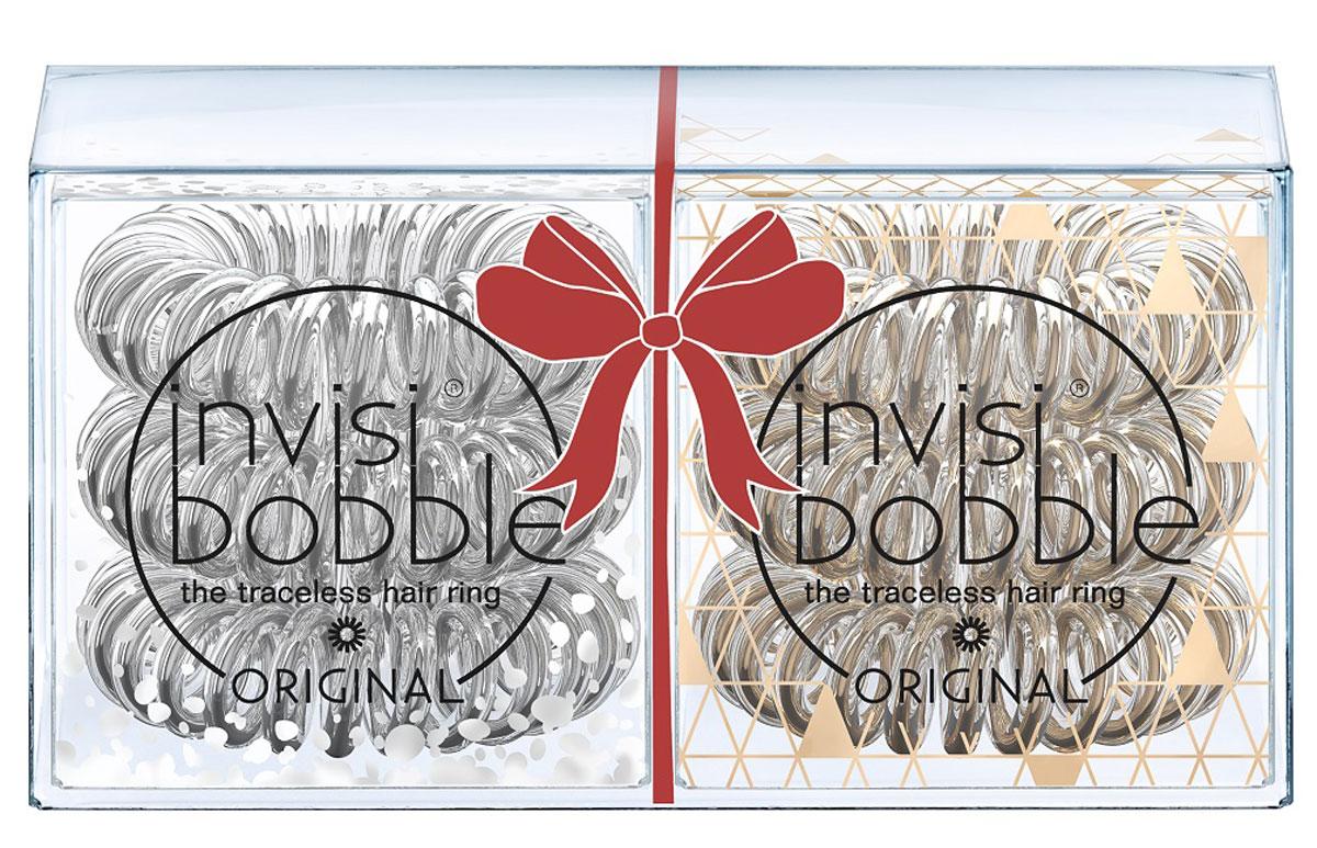 Резинка-браслет для волос Invisibobble Holiday Duo Pack, 6 шт3066Оригинальные резинки-браслеты invisibobble в форме телефонного шнура, созданные в Германии. Резинки из коллекции Time To Shine (в серебяном и бронзовом оттенках) в праздничной упаковке Duo Pack станут прекрасным подарком и дополнят любой образ! Резинки invisibobble подходят для всех типов волос, надежно фиксируют причёску, не оставляют заломов и не вызывают головную боль благодаря неравномерному распределению давления на волосы. Кроме того, они не намокают и не вызывают аллергию при контакте с кожей, поскольку изготовлены из искусственной смолы. C резинками invisibobble можно легко создавать разнообразные прически. Резинки прочно держат волосы любой длины, при этом не стягивая их слишком туго. Телефонный провод позволяет с легкостью и без вреда для волос протягивать пряди под спираль и ослаблять уже закрепленные для придания объема прическе. invisibobble ORIGINAL идеально подходят для ежедневного применения.Не комедогенна.