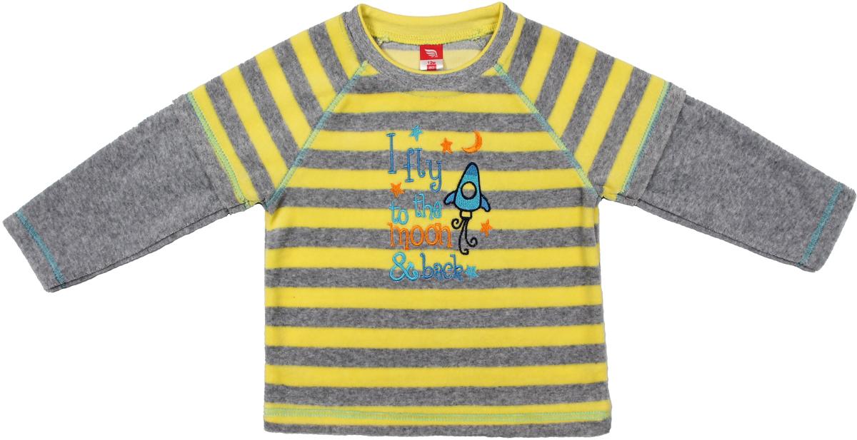 Джемпер для мальчика Cherubino, цвет: серый меланж. CWB 61491. Размер 86CWB 61491Джемпер для мальчика Cherubino изготовлен из хлопка с добавлением полиэстера. Джемпер выполнен из комбинированного велюра и украшен принтом.
