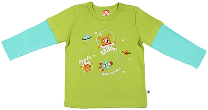 Джемпер для мальчика Cherubino, цвет: салатовый. CWN 61235 (131). Размер 74CWN 61235 (131)Джемпер для мальчика Cherubino изготовлен из натурального хлопка. Модель с контрастными рукавами украшена оригинальным принтом.